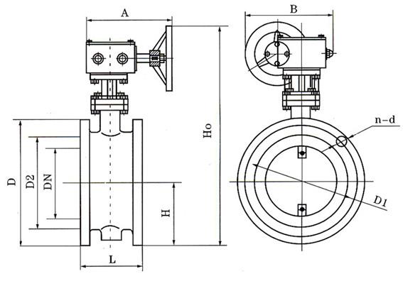D341蜗轮法兰式通风蝶阀结构示意图