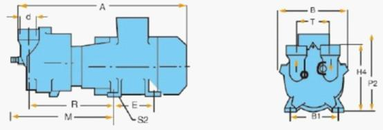 2BV-2060/2061/2070/2071水环真空泵外形尺寸